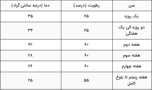 جدول رطوبت و دمای مورد نیاز برای سالن های پرورش بلدرچین